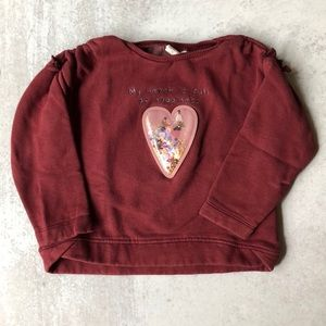 Zara Baby Girl Heart Appliqué Sweatshirt